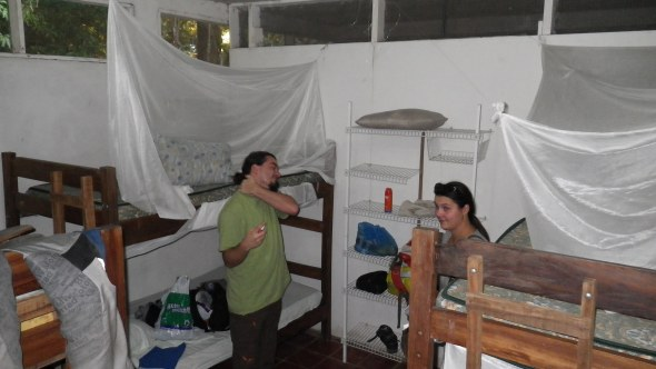 Sam and Doris in our disgusting dorm in Palo Verde National Park