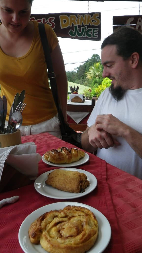Mandatory stop at a German bakery on Lake Arenal for some bratwurst and pastries!
