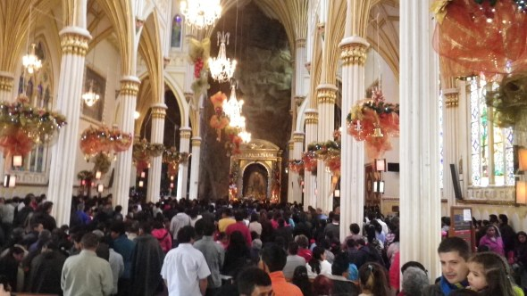Inside Las Lejas Sanctuary, on a Sunday