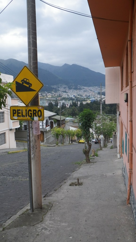The street outside the hostel in Quito. Danger.