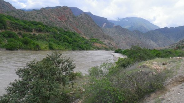 The river brings life to this arid valley