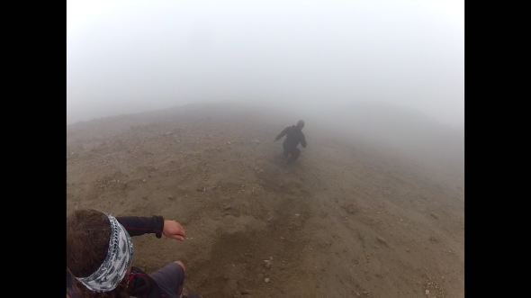 Trouncing down the volcano