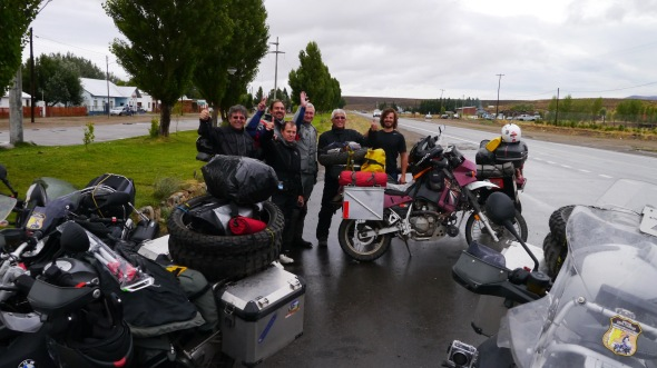 Photo courtesy of Franki Yang. Ran into a group of Argentinian bikers heading South as well.