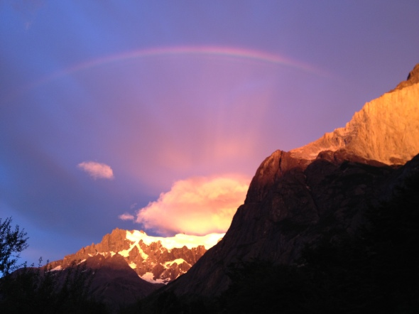 Glorious rainbow studded sunrise the morning of our fourth day