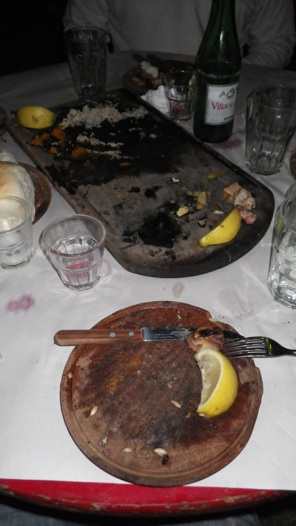 Remnants of a typical Argentine Parilla dinner